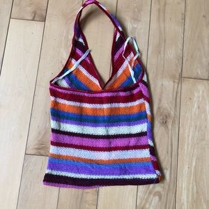 Vintage Tops - Rainbow Halter Crop Top